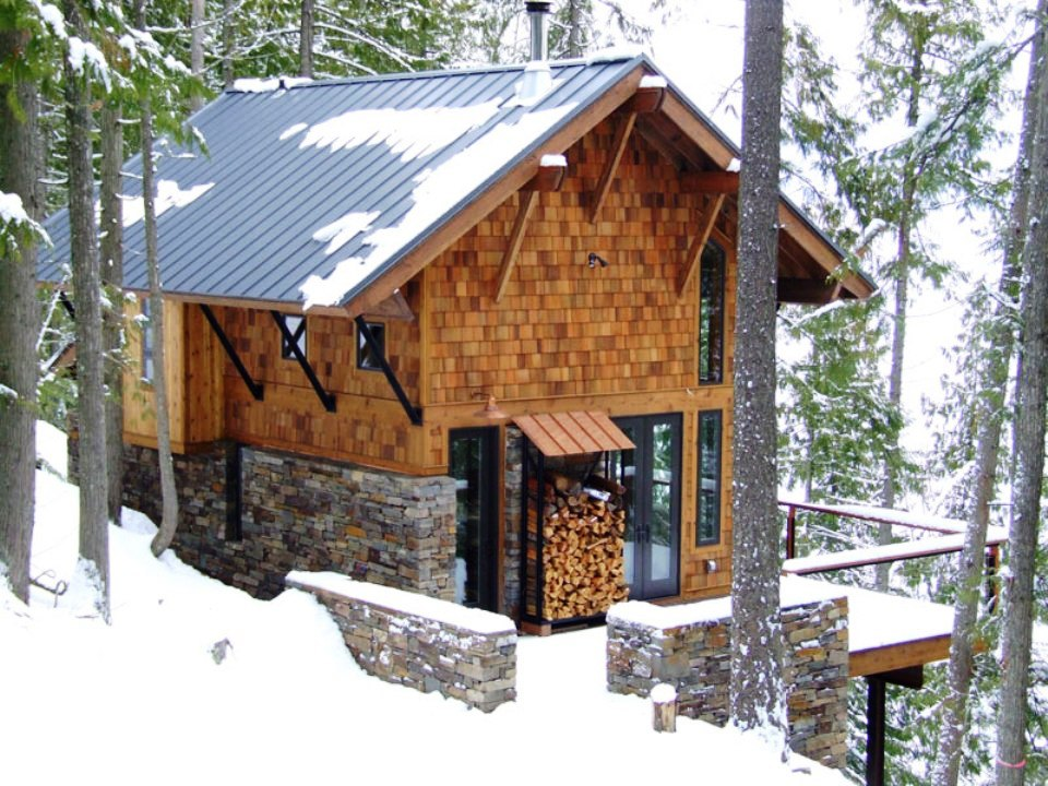 Eureka road lake cabin straight line building design for How to build a stone cabin